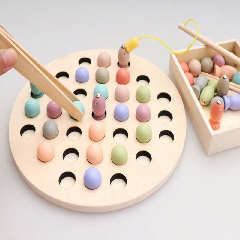 Montessori Educational Wooden Toys Materials Kids Clip Bead Magnetic Fishing Catch Worm Math Interactive Toys For Children Gifts недорого