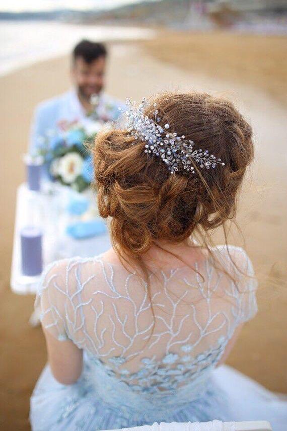 شيء أزرق كريستال الزفاف قطعة الرأس ، أغطية الرأس ، عقال ، عقال ، صناعة يدوية ، إكسسوارات المجوهرات النسائية