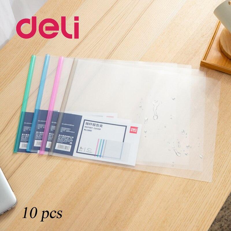 Deli 10 шт., А3, Drawbar, отчет, клип, спецификация, файл, прозрачная папка, пластиковый зажим для галстука, водонепроницаемый, пригодный для носки, кр...