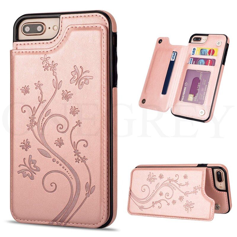 Capa carteira de luxo floral fundas capa de silicone macio para iphone 8 7plus iphone 8 iphone 7 couro capinha coque etui 8 mais 7plus