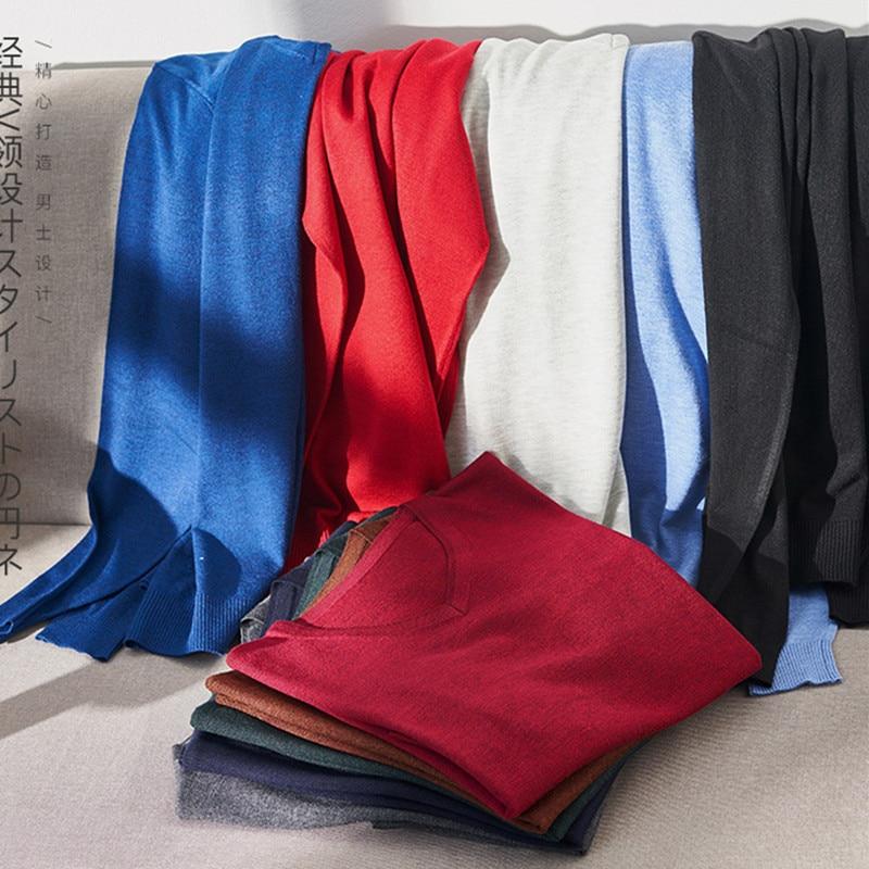 ¡Novedad de Otoño de 2019! Suéter de lana con cuello en V de color liso para hombre, Jersey de punto informal de algodón de Cachemira a la moda, suéter 3XL 4XL