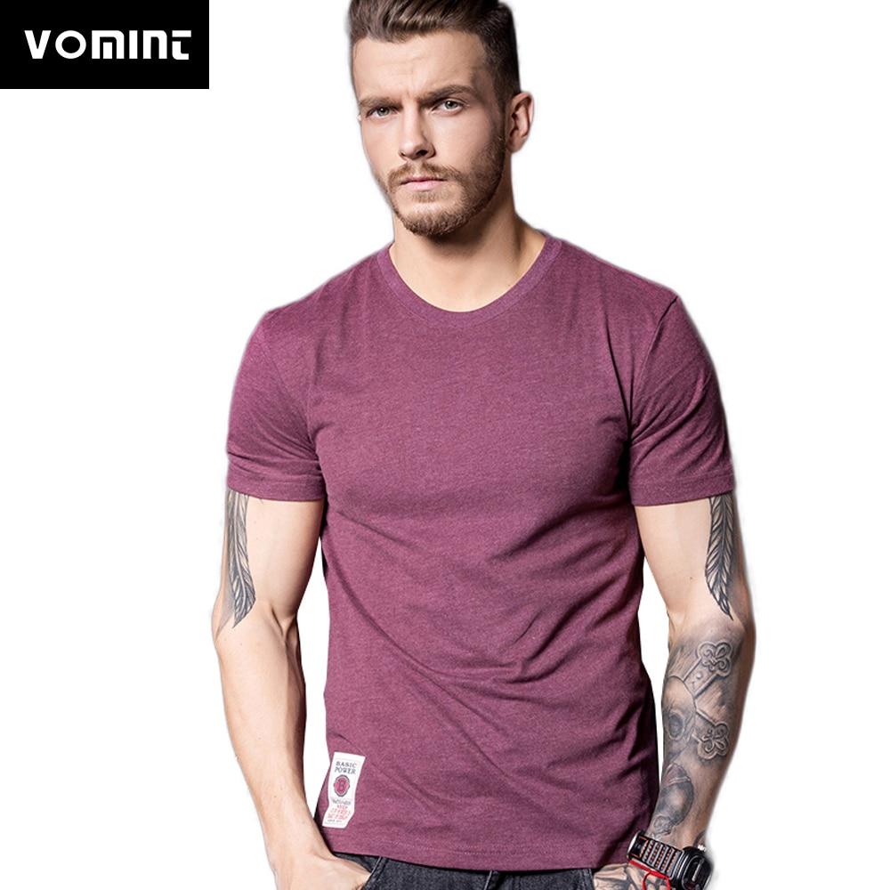 Мужская футболка VOMINT, Однотонная футболка с коротким рукавом из хлопка, разных цветов, Модная трикотажная футболка для мужчин V7S1T001