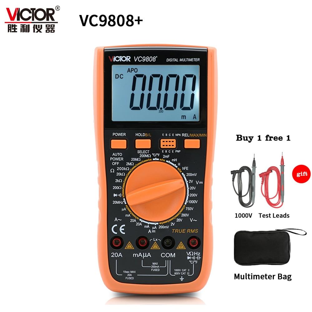 VICTOR VC9808 + 3 1/2 valores eficaces verdaderos multímetro Digital 1000V 20A medidor portátil amperímetro voltímetro inductor de frecuencia probador DC AC