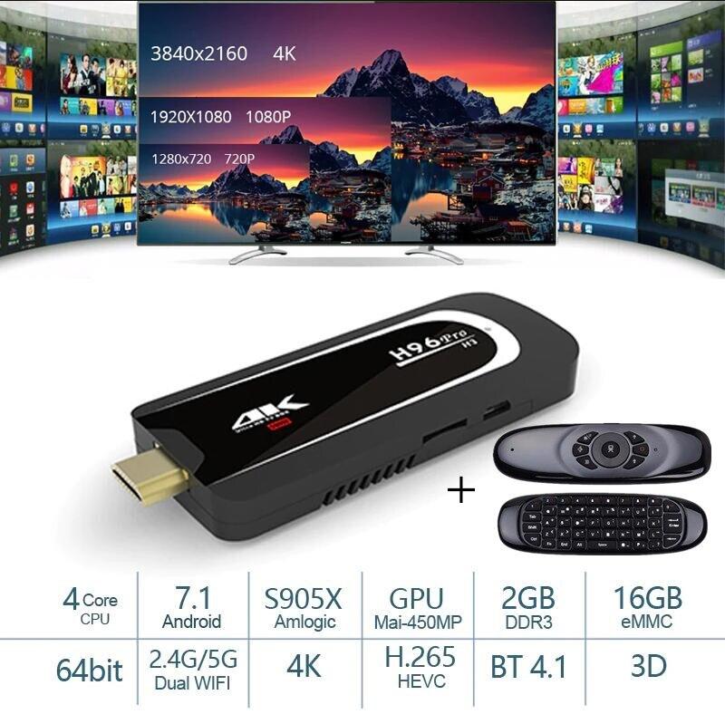 S905X H96 Pro H3 Mini PC Amlogic Caixa De Tv Quad Core Android 7.1 TV Dongle 2GB16GB 2.4G/5.G wi-fi BT4.1 1080 P 4 K HD TV Vara