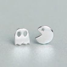 925 Sterling Silver Earrings Lovely Pacman Shape Little Ghost Game Post Stud Earrings A1267