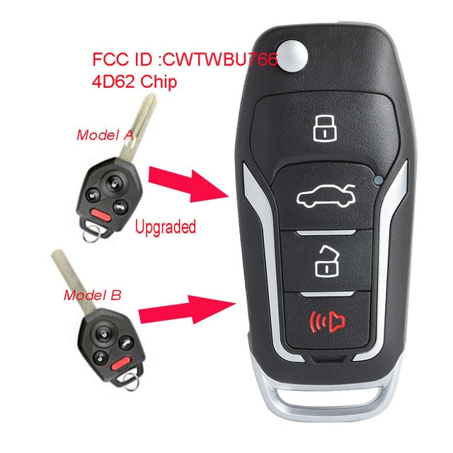 Llave de coche remota con tapa mejorada de keyeco 433MHz 4D62 Chip 4 botones para Subaru Tribeca Outback legity 2008-2010 FCC CWTWB1U766