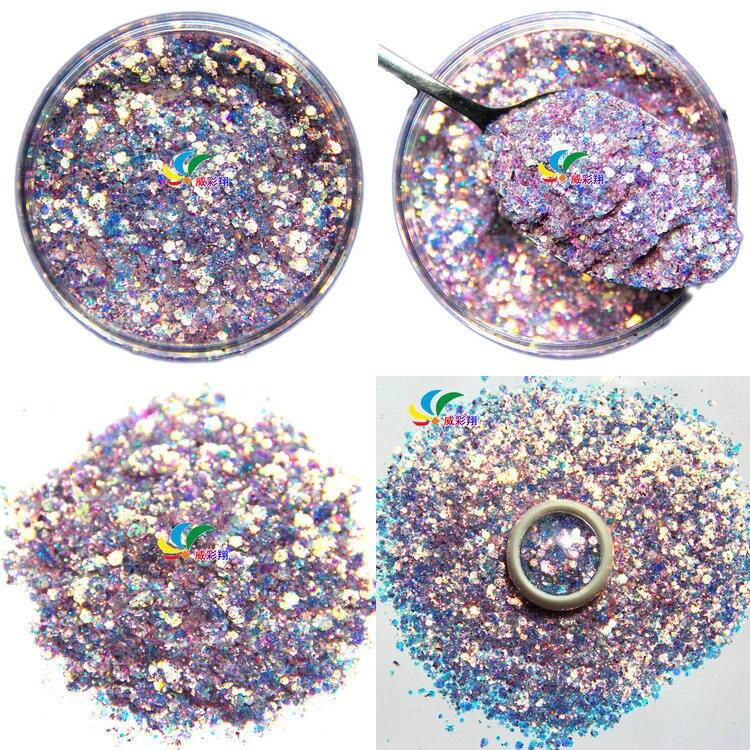 50g Fairy mixed glitter Nail Flake glitter sequins eye makeup green PET 8 colors gradient glitter for Nail Art wholesale