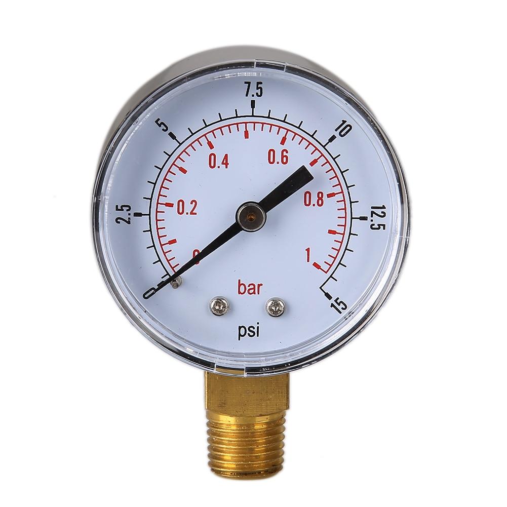 Манометр 0/15 PSI 0/1 бар, измерительный прибор для компрессора, гидравлический манометр, двойные весы