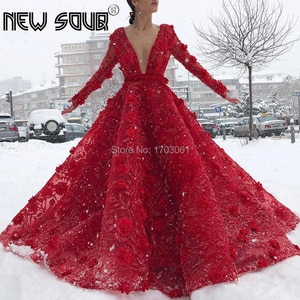 New Design Arabic Red V Neck Evening Dresses Ball Gown Long Dubai Turkish Prom Dress With Lace Beading Kaftans Vestidos