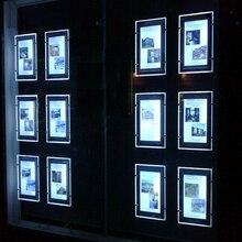 (Pack/5 einheiten) A3 Doppelseitige Kabel Display Backlit Hängen Systeme, kunst & Galerie Hängen Systeme Led Einzelhandel Fenster Display