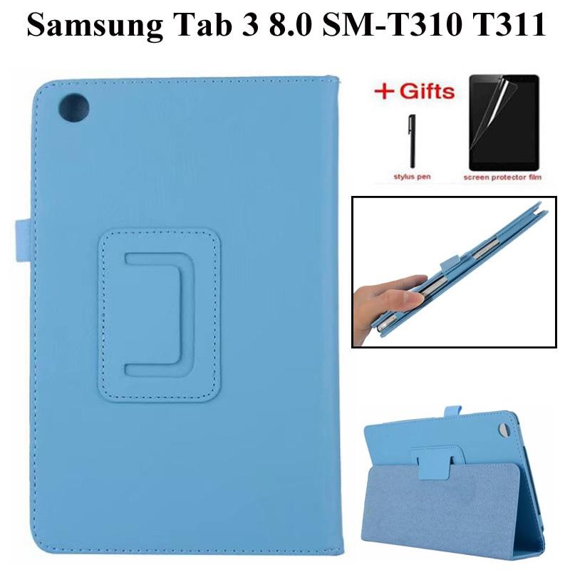 Litchi stand Case Couro PU para Samsung Galaxy Tab 3 8.0 T310 T311 Capa para Samsung Tab3 SM-T310 8.0 polegada tablet case + filme + caneta