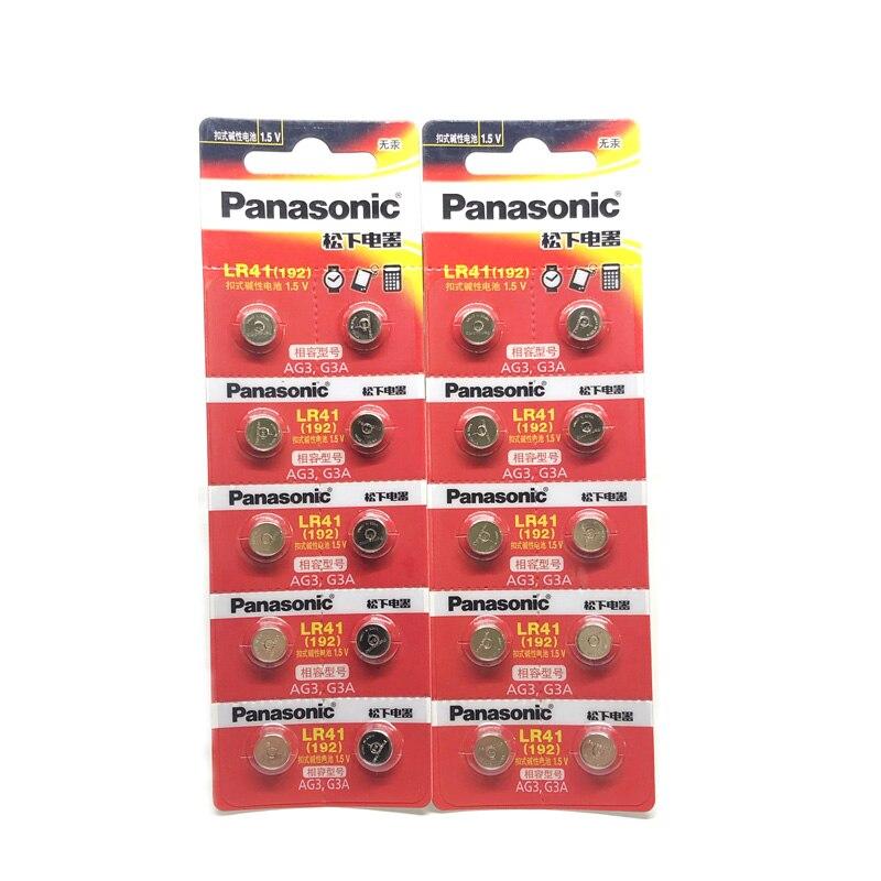 50pcs/lot 100% Original Panasonic LR41 Button Cell Battery SR41 AG3 G3A L736 192 392A Zn/MnO2 1.5V Lithium Coin Batteries LR 41