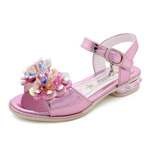 Girl Princess Sandals Summer New Sequin Leather Rhinestone Crystal Toddler Baby Sandals High Heels Children's Performance Shoes