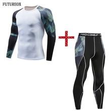 Nuevo conjunto de compresión de camisa blanca y negra para hombre + mallas hojas Fitness manga larga drenaje rápido- secado de Top Gear