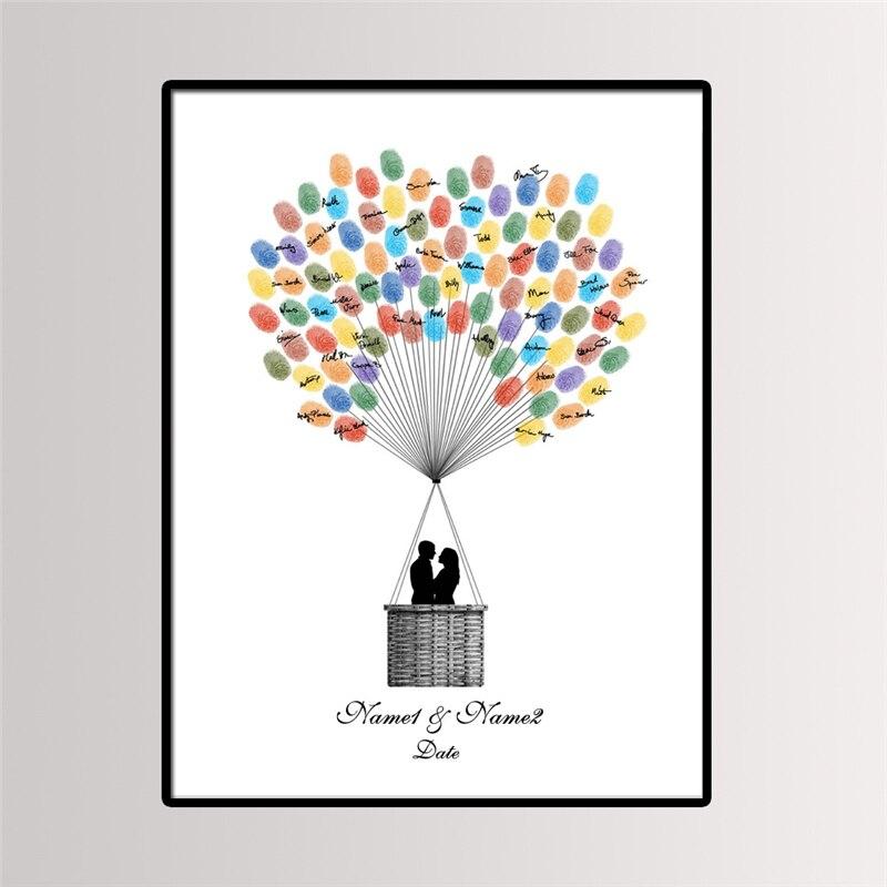 Decoração De Casamento personalizado Fingerprint Assinatura Livro de Visitas/Desenhos Animados Do Bebê Chuveiro DIY Impressão Digital Livro de Visitas