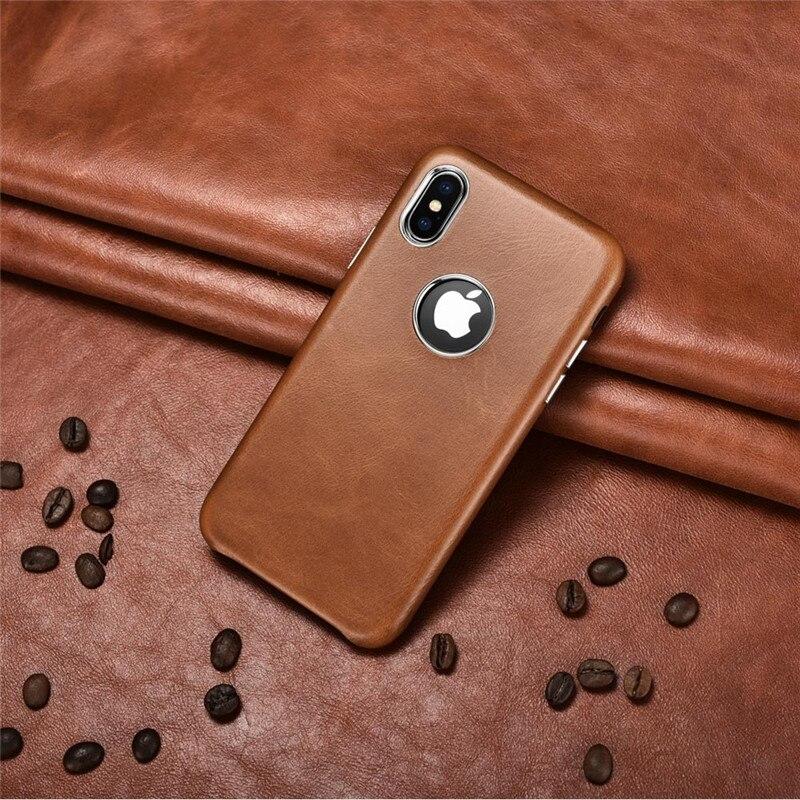Чехол ICARER для iPhone X XS, черный чехол из натуральной кожи в стиле ретро с отверстием для логотипа для iPhone XS Max, тонкий защитный чехол для телефон...