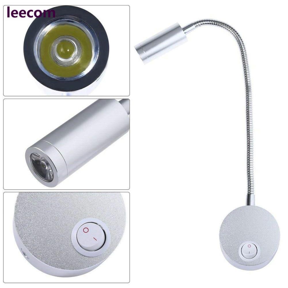 10pcs /lot Silver Aluminum Flexible Hose Arm 3W Bedroom Bedside Reading Hallway LED Light enlarge