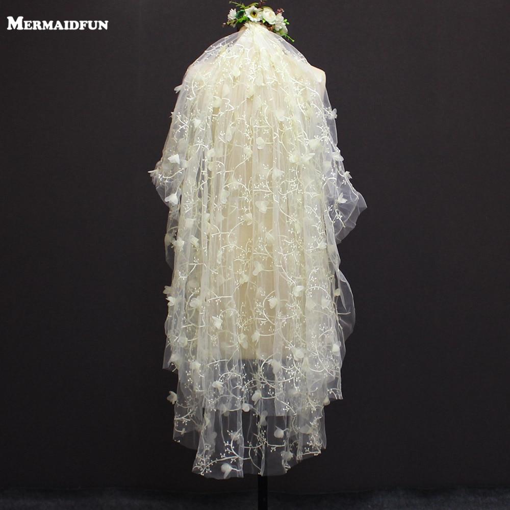Imagen Real 2 capas 1,2 metros flor peine Color Champagne velo de novia hermosa Brial velo