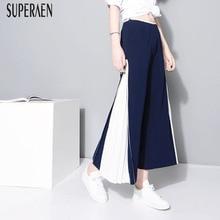 SuperAen Fashion Women Wide Leg Pants 2019 Summer Stitching Chiffon Ankle Length Pants Female Wild Casual Europe Pants