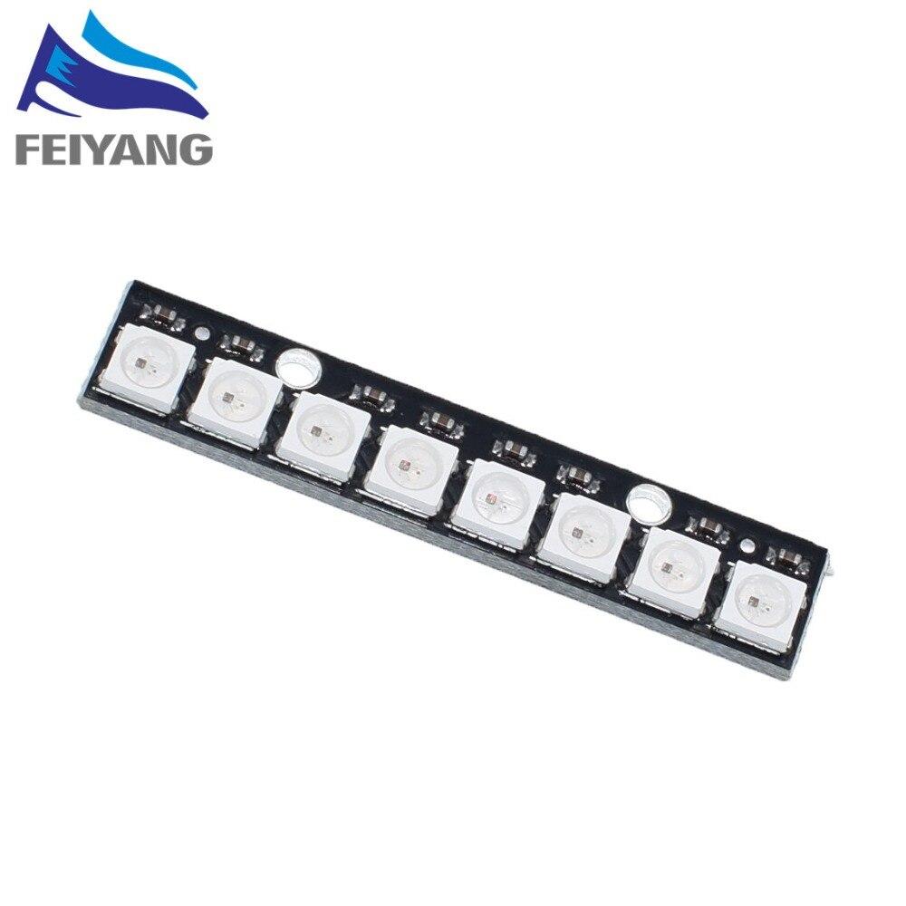 10 pces 8 canal ws2812 5050 rgb luzes led built-in completo cor-conduzido placa de desenvolvimento