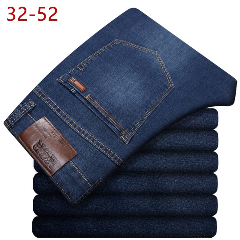 Мужские классические прямые мешковатые джинсы размера плюс 32-52, новые летние мужские тонкие повседневные джинсы, джинсовые брюки большого ...