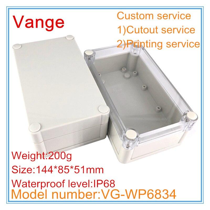 1 unids/lote de carcasas para electrónica 144*85*51mm IP68 carcasa impermeable de Proyecto de plástico ABS para diseño de módulo PCB