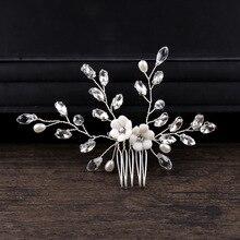 Perle simulée perle à la main mariée cheveux peigne coiffes cristal fleur peigne de mariée pour cheveux de mariage cheveux bijoux accessoires JL