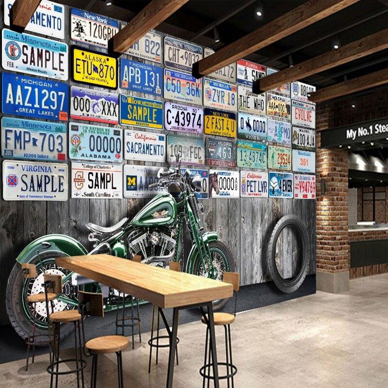 Papel tapiz fotográfico estéreo 3D, papel tapiz Retro para matrícula de coche, papel tapiz de pared personalizado para sala de estar, vestíbulo, mural de estudio