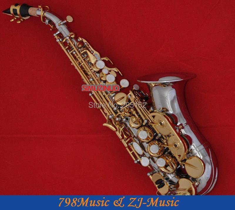 Nickel Gold Curved Soprano Saxophone Bb key to High F key and G Key