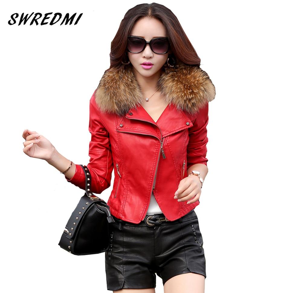 Swredmi jaqueta de couro feminino 2020 primavera e outono gola de pele real roupas de couro outerwear casaco de couro vermelho motocicleta