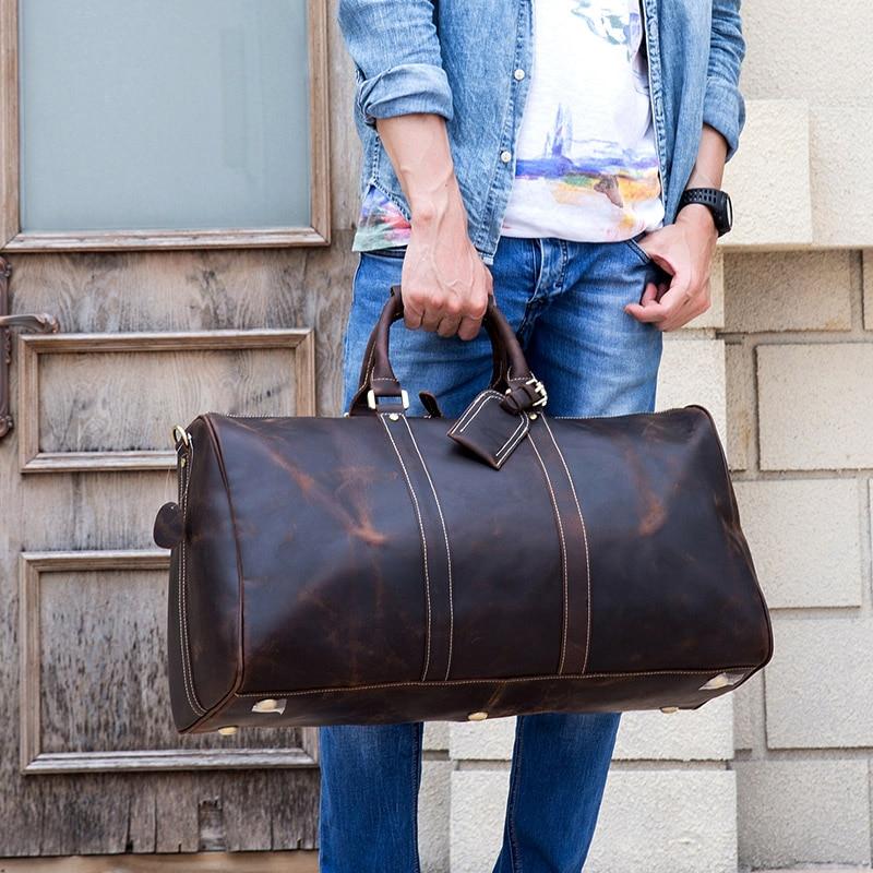 MAHEU Men Genuine Leather Travel Bag Travel Tote Big Weekend Bag Man Cowskin Duffle Bag Hand Luggage Male Handbags Large 60cm