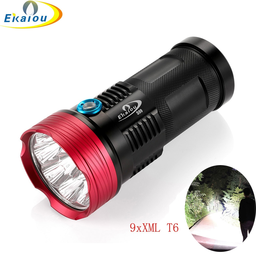 New Waterproof High lumen 9 x XML T6 LED Flashlight Tactical Torch 4x18650 Hiking Torch Free shipping