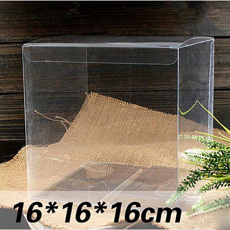 1lot=10pcs16*16*16cm large PVC Box different sizes square shape pvc package Box Plastic Packaging Box For Souvenir/Candy/wedding