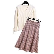 SexeMara Real shot Hard autumn and winter Sweater Women's Fashion Set Woolen Plaid Skirt Set two-piece suit Free shipping