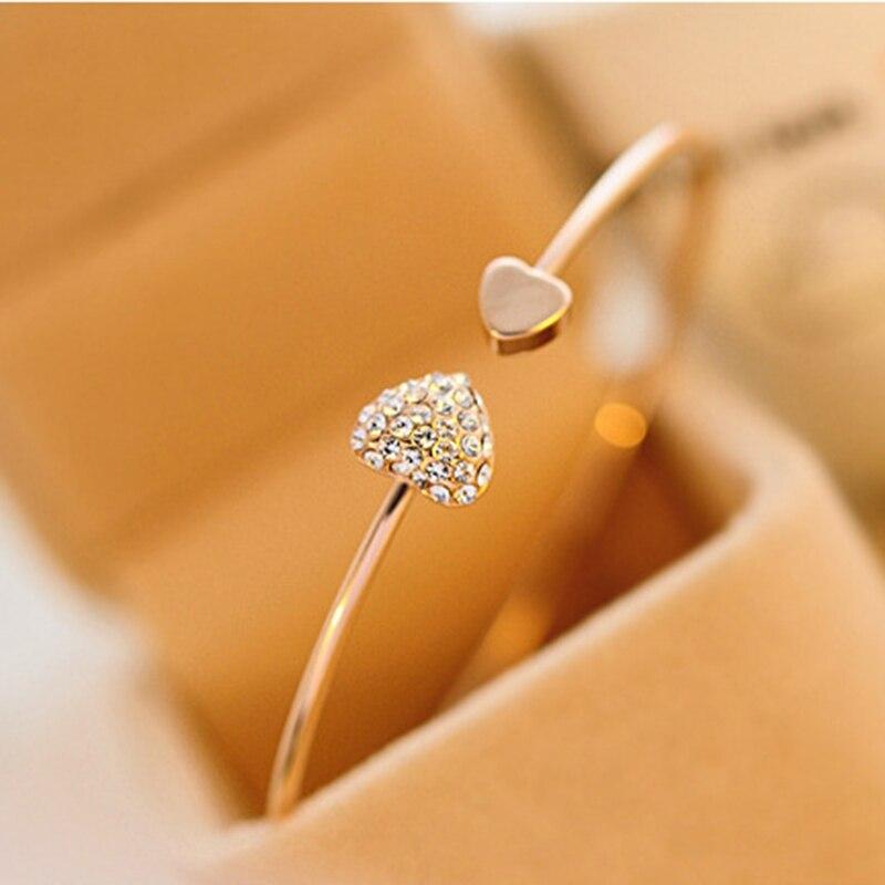 ¡Novedad de 2019! pulsera ajustable de doble Corazón de cristal Bilezik con abertura del puño para Mujer, joyería de regalo para Mujer, Pulseras de 7g