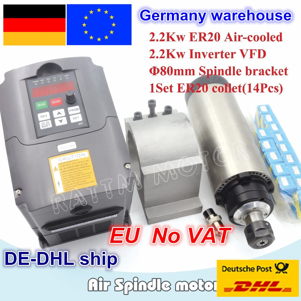 2.2KW refrigerado por aire del motor del husillo ER20 4 cojinetes y 2.2kw inversor VFD 3HP 220V y 80mm pinza de aluminio + 1 conjunto ER20 collet (14 uds)
