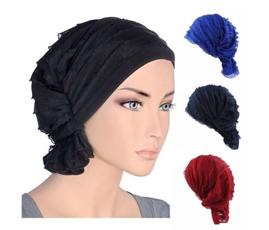 Muslimischen Motorhaube Frauen Hijab Chiffon Turban Hut Headwear Kappe Kopf Wrap Krebs Chemotherapie Chemo Mützen Haar Abdeckung Zubehör
