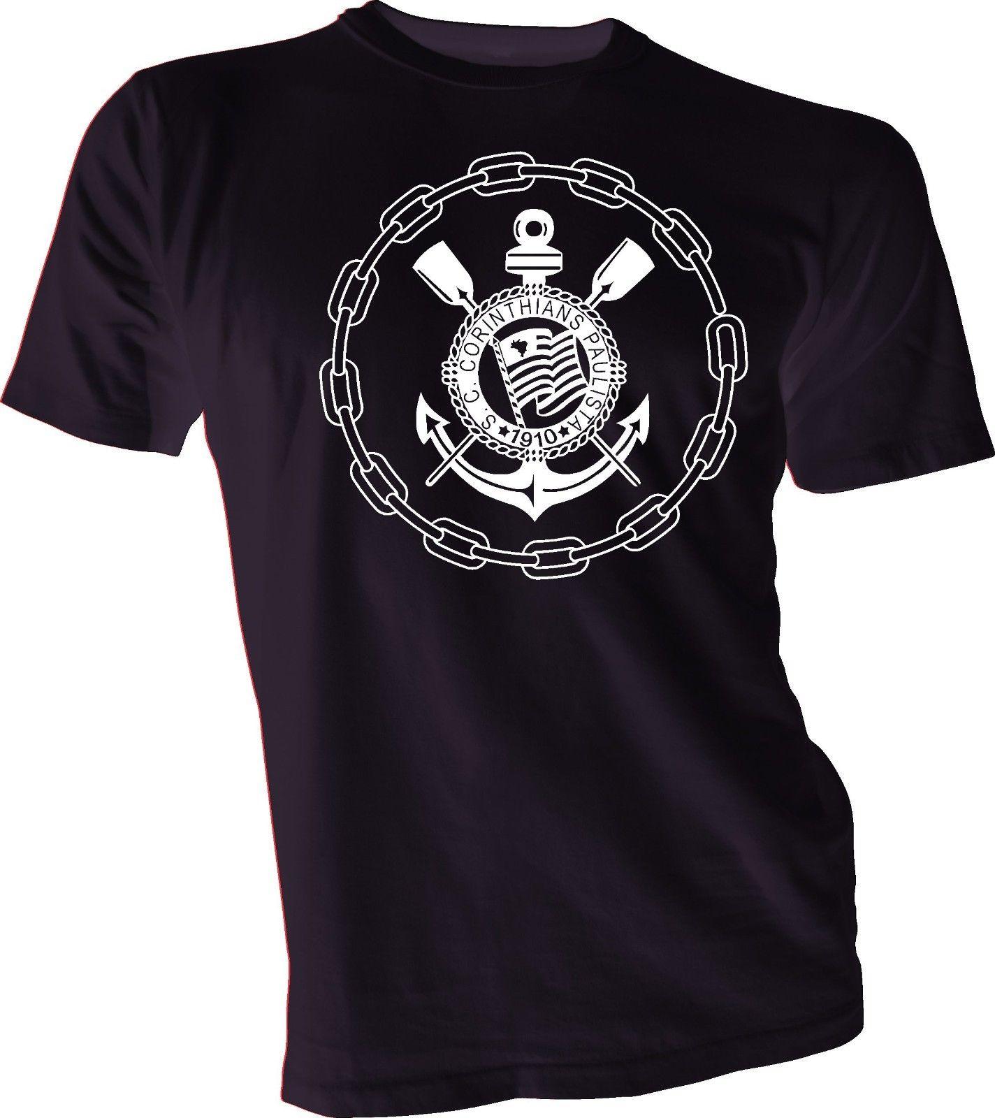 S C CORINTHIANS PAULISTA Brasil, camiseta de fútbol de Brasil, Camiseta de algodón de manga corta con cuello redondo