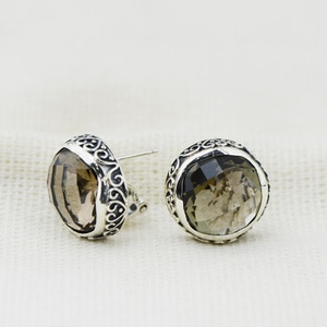925 Sterling Silver Jewelry Natural Gemstone Smoky Quartz Classic Studs Earrings Round For Women Ladies Fine Jewellery