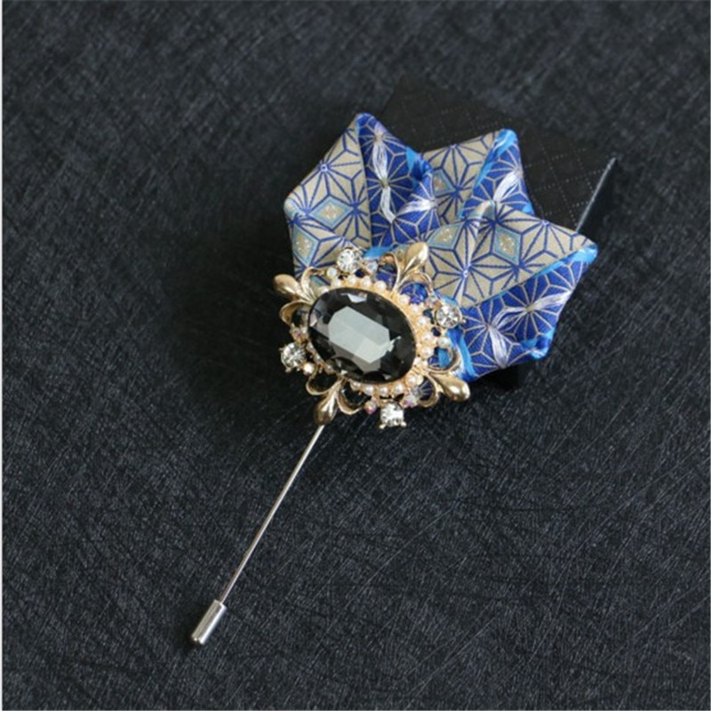 New Rhinestone Suits Man Brooches Pins Ribbon Bowknot Long Pins Brooches Lapel Carsage Wedding Dress Shirts Fashion Jewelry
