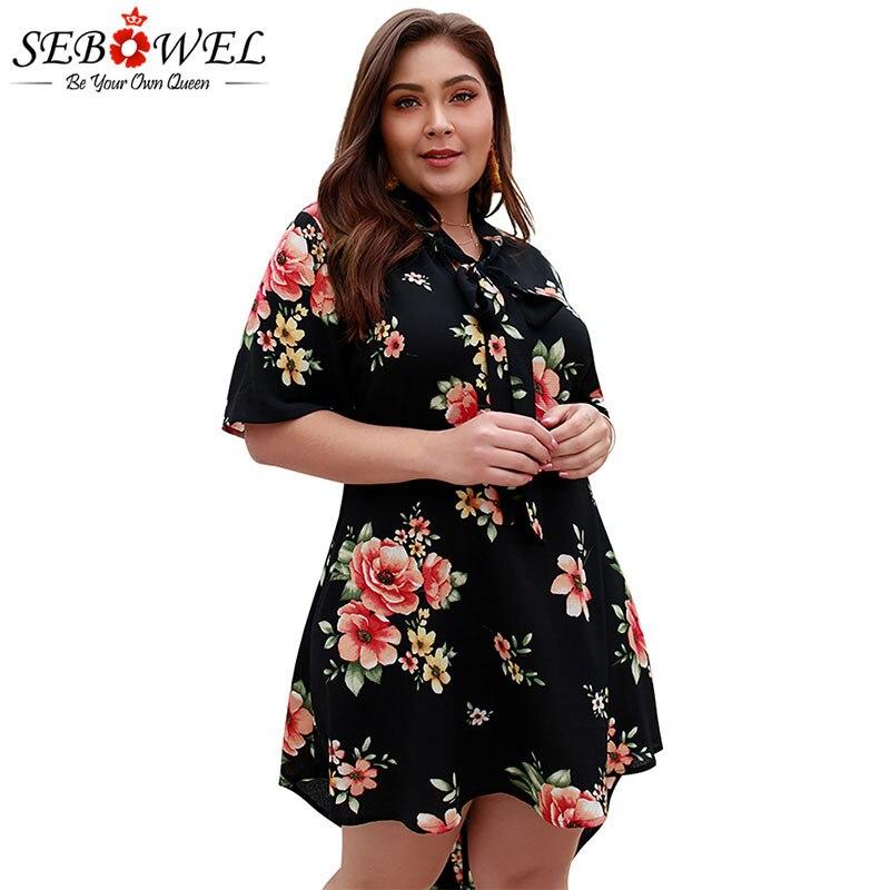 SEBOWEL mujer más vestidos de impresión de tamaño grande verano 2020 mujeres damas elegante Floral de manga corta A-line vestido de camisa de gran tamaño