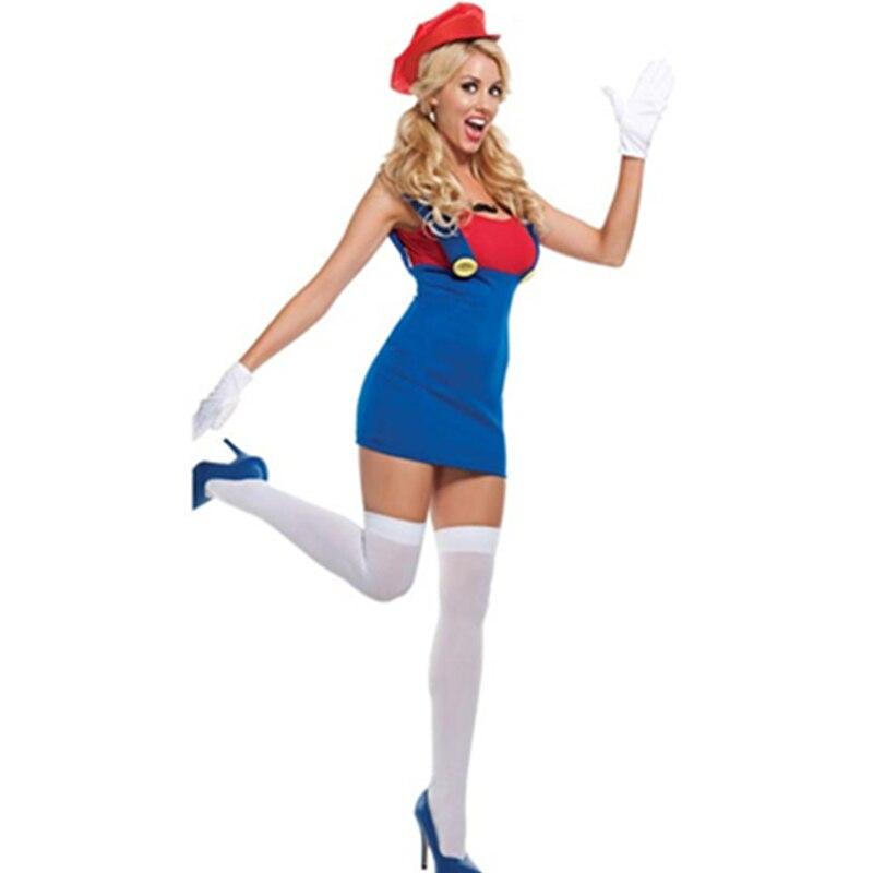 Guantes Blancos divertidos collar con dije de bigote sombrero rojo y camisa vestido azul Mario traje de Luigi Sexy fiesta Cosplay adulto disfraz L1489-1