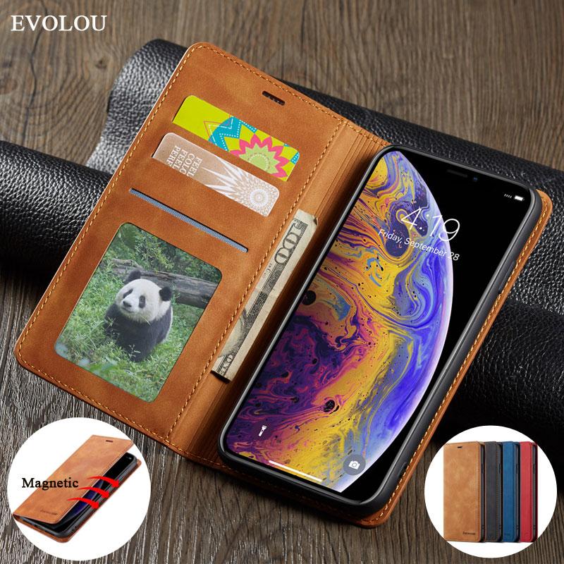 Funda abatible tipo cartera para iphone XS XR 8 7 Plus, funda magnética de cuero para iphone XS Max 7 Plus 8Plus, bolsa