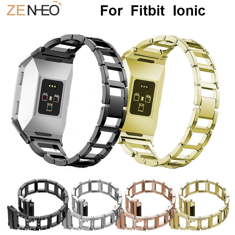 For Fitbit Ionic Metal watches bands men women's wristband Rhinestone replacement For Fitbit Ionic watchband drop shipping
