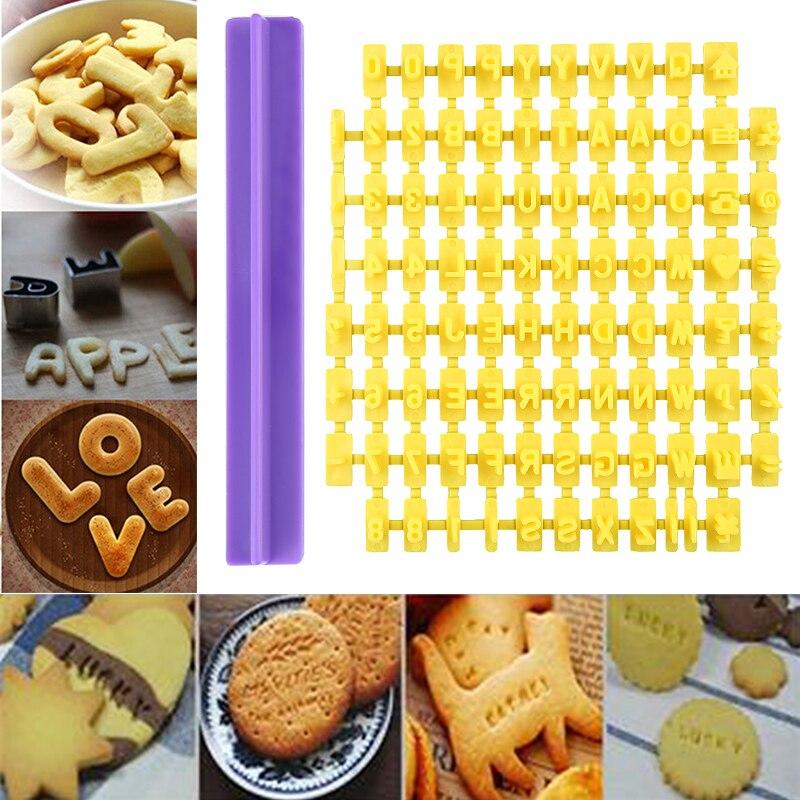 Gran oferta alfabeto carta número de prensa de galletas estampadora de Estampillas de Fondant molde para hornear pasteles moldes herramientas