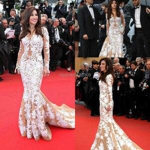 Jewel Collar Najwa Karam Cannes  Long Sleeves Red Carpet Dresses Evening Gown vestido de festa Celebrity Dresses