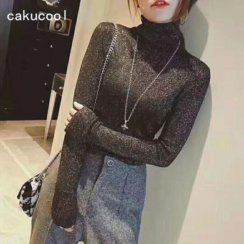Cakucool-Camiseta de punto de cuello alto para mujer, Tops ajustados de plata,...