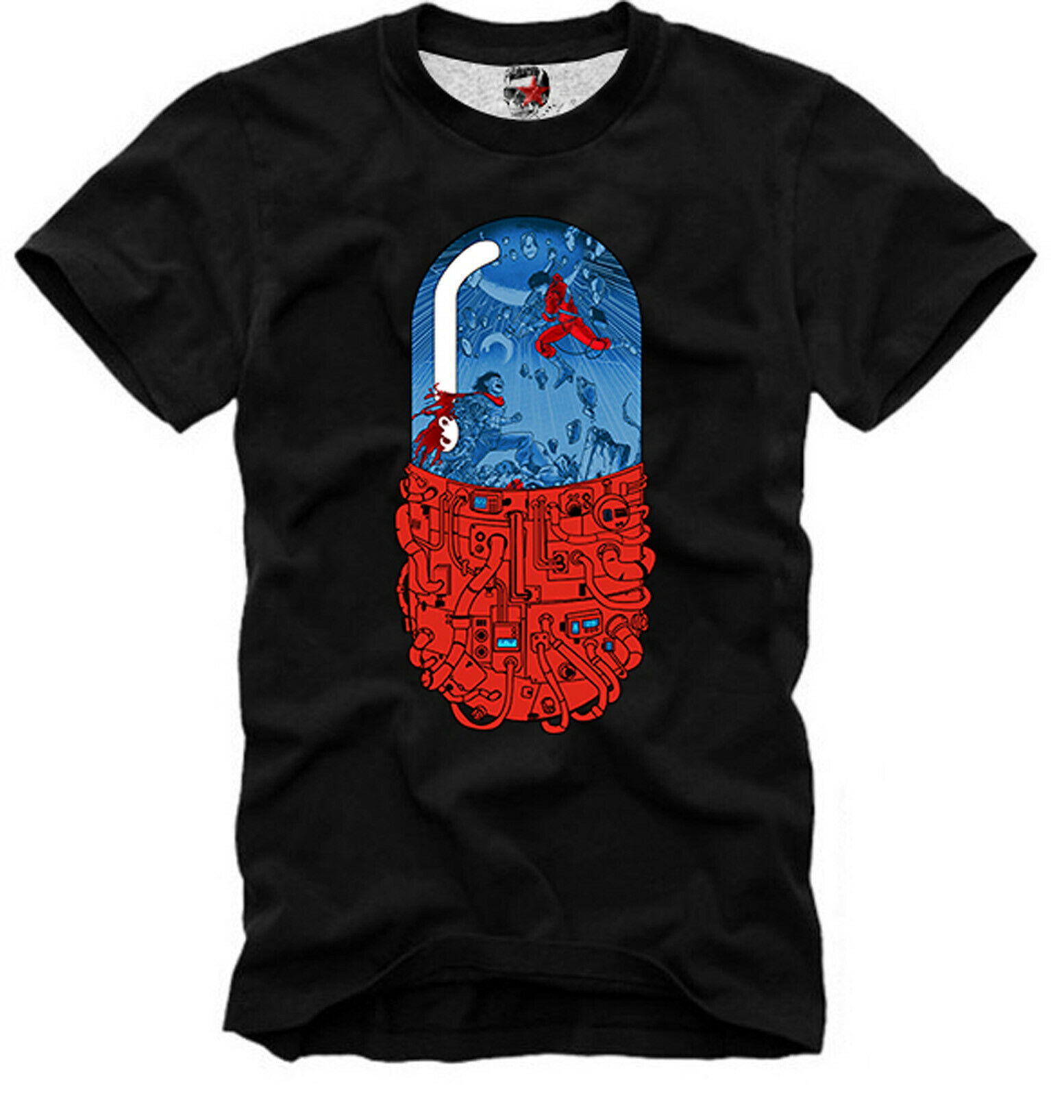 Camiseta Akira Pill rojo azul Matrix Manga Psychonaut psychophape más nueva moda de verano 2019 algodón corto moda para hombres camisetas