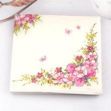Serviettes en papier fleurs roses Design beauté   Serviettes de table café & fête, serviettes en tissu, papier de décoration, 33cm x 33cm