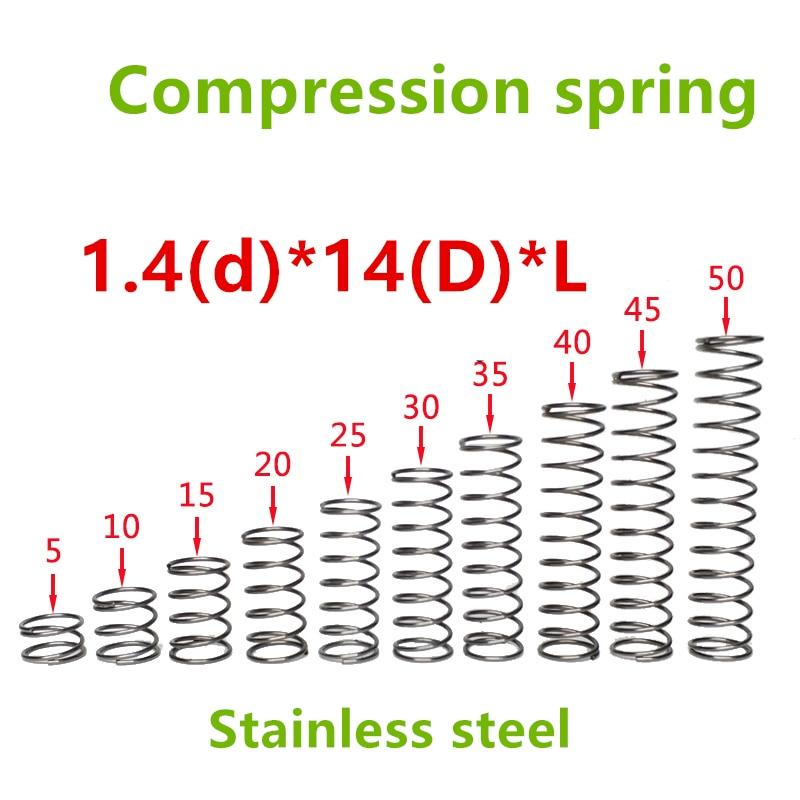 20 piezas 1,4*14 * (10/15/20/25/30/35/40/45/50) Serie de acero inoxidable muelle pequeño muelles de presión de alambre